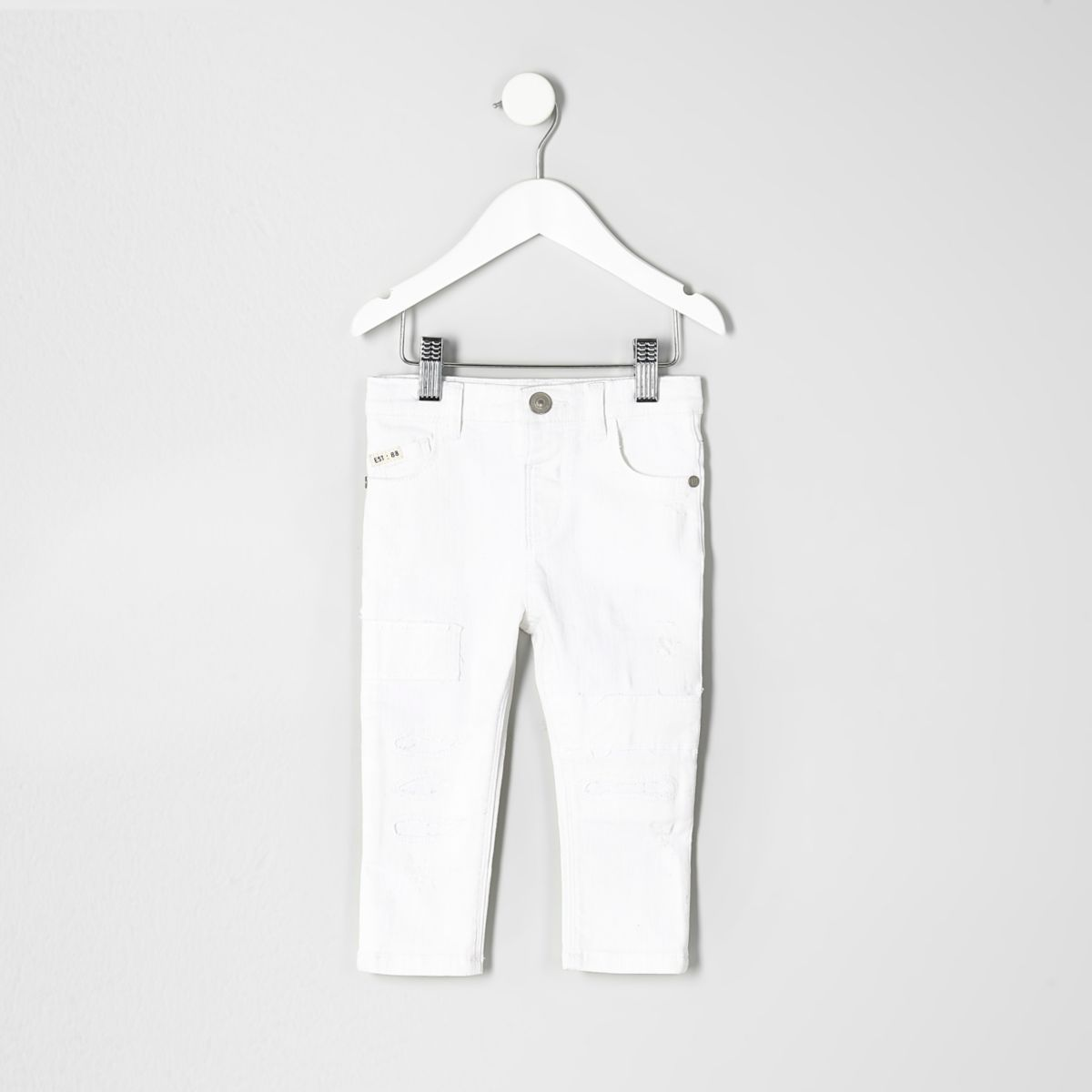 Mini boys white Sid ripped skinny jeans