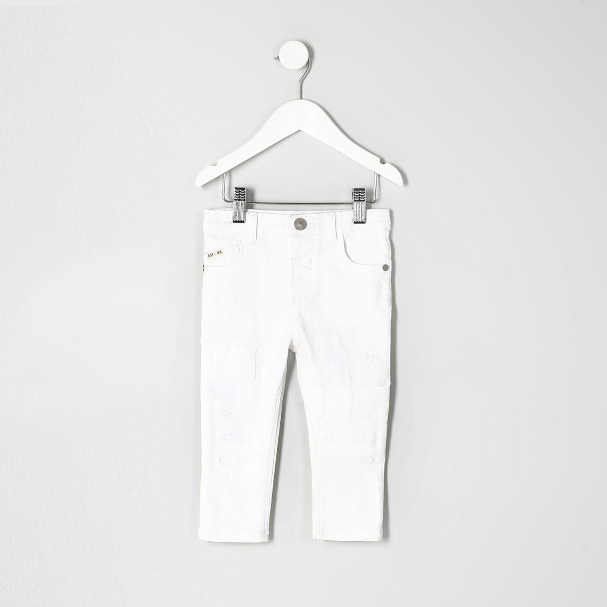 Mini boys white Sid ripped skinny jeans