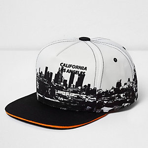 Boys white skyline print cap