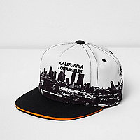 Boys black skyline print cap