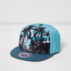 Mini boys blue palm print cap