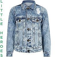 Veste en jean bleu délavé usé pour garçon