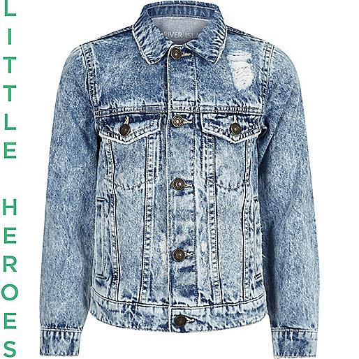 Boys blue wash distressed denim jacket