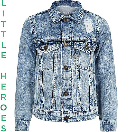 Boys blue wash distressed denim jacket