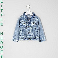 Mini boys blue distressed denim jacket
