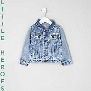 Veste en jean bleue usée mini garçon