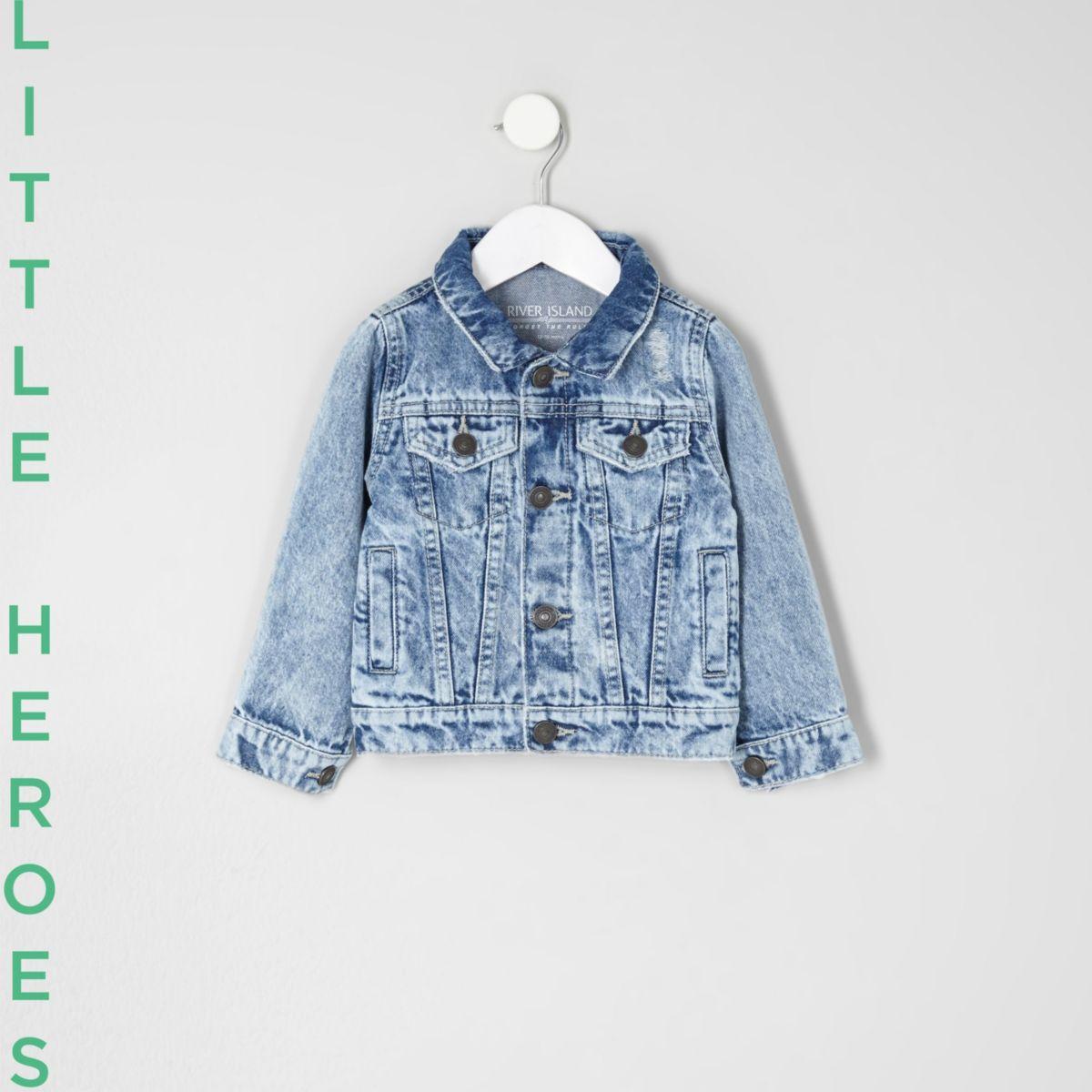 Mini boys blue distressed denim jacket
