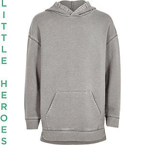 Boys grey burnout hoodie