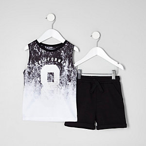 Mini boys white mesh tank and shorts outfit