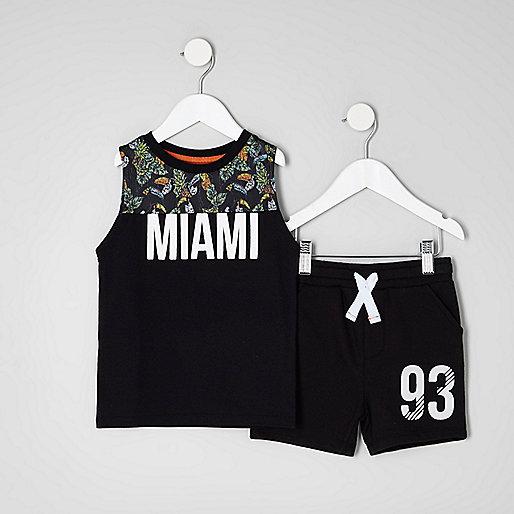 Mini boys black print vest and shorts outfit