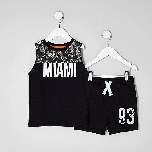 Mini boys black print tank and shorts outfit