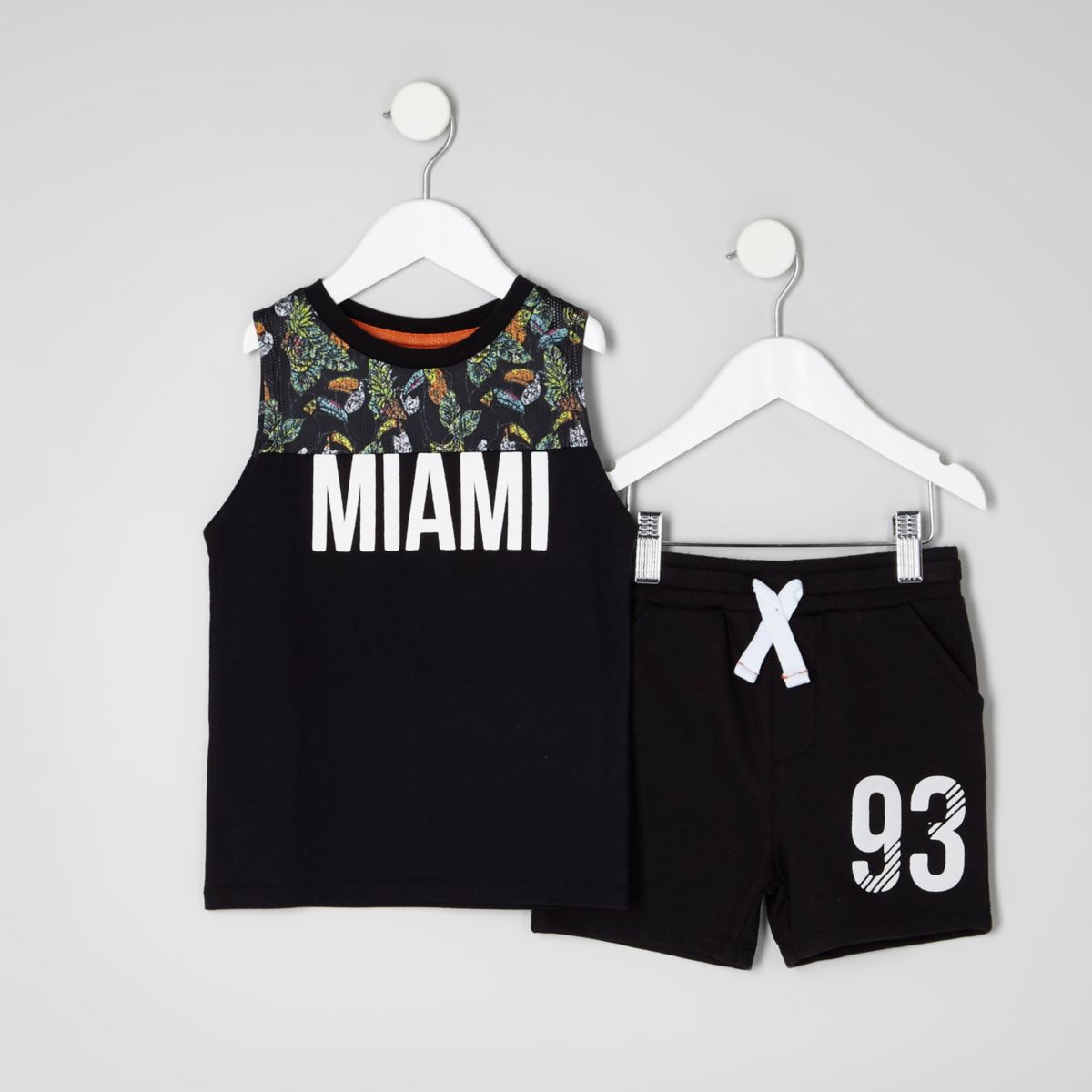 Mini boys black print vest and shorts outfit