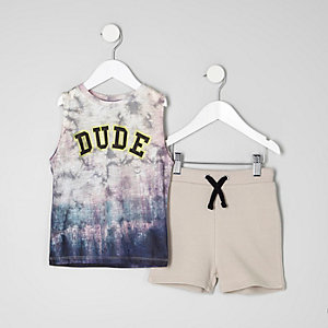 Mini boys blue tie dye vest and shorts outfit