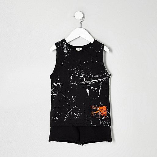 Mini boys paint splatter vest outfit