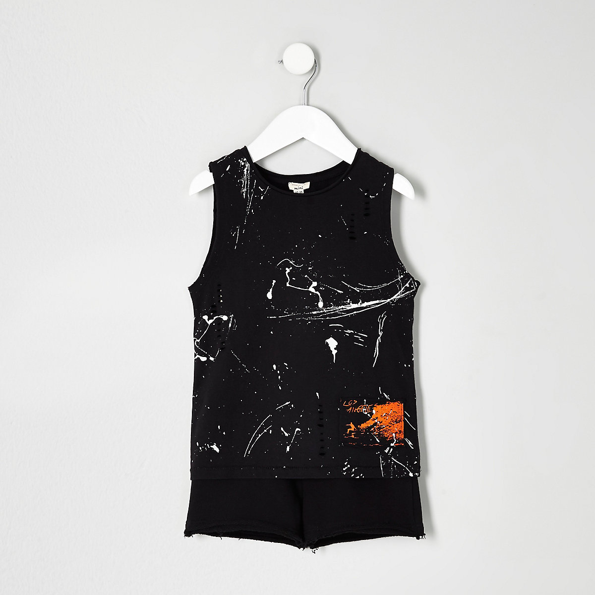 Mini boys paint splatter tank outfit