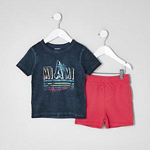 Mini - Outfit met T-shirt met 'Miami'-print en short voor jongens