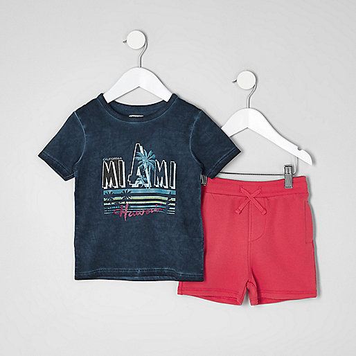 Mini boys 'Miami' T-shirt and shorts outfit