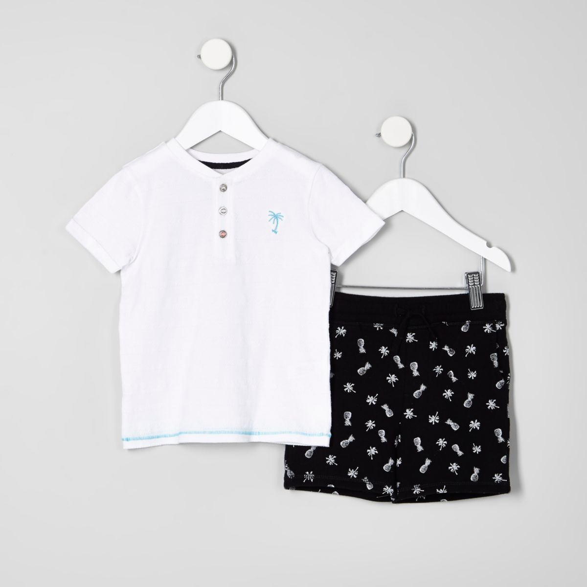 Mini boys white palm T-shirt outfit
