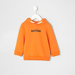 Mini boys orange 'Mayhem' print hoodie