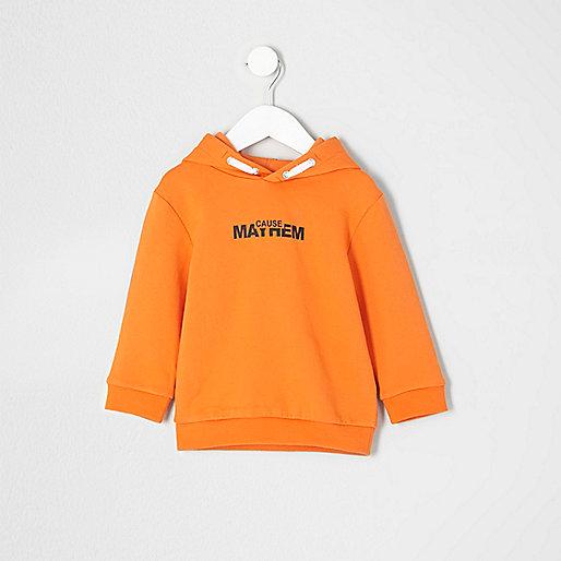 Mini boys orange 'Mayhem' print hoodie