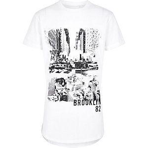 Boys white contrast print T-shirt