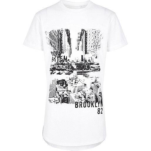Boys white contrast print T-shirt