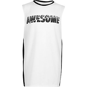 Boys white 'Awesome' print panel tank