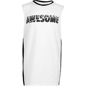 Wit hemd met 'Awesome'-print en paneel voor jongens