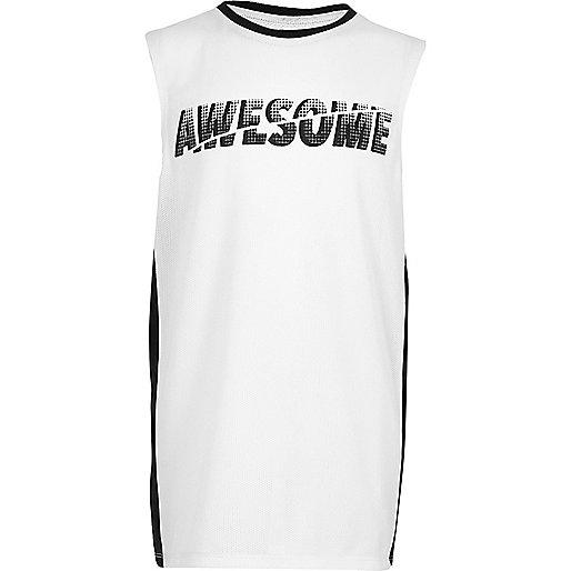 Boys white 'Awesome' print panel tank