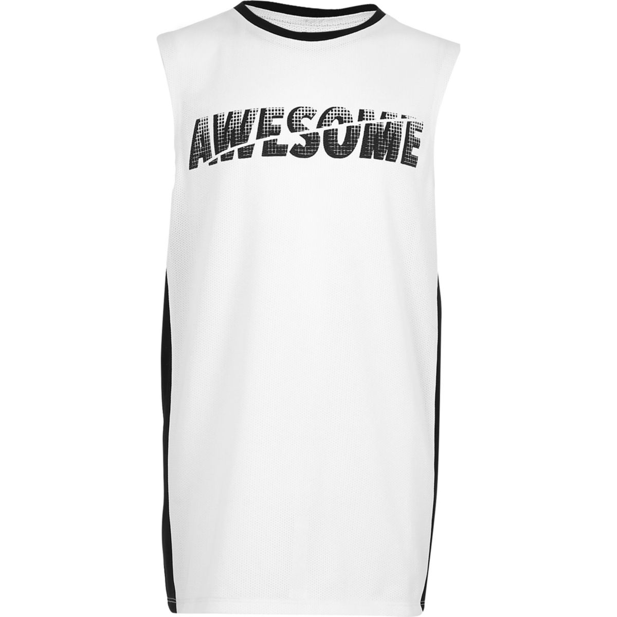 Boys white 'Awesome' print panel vest