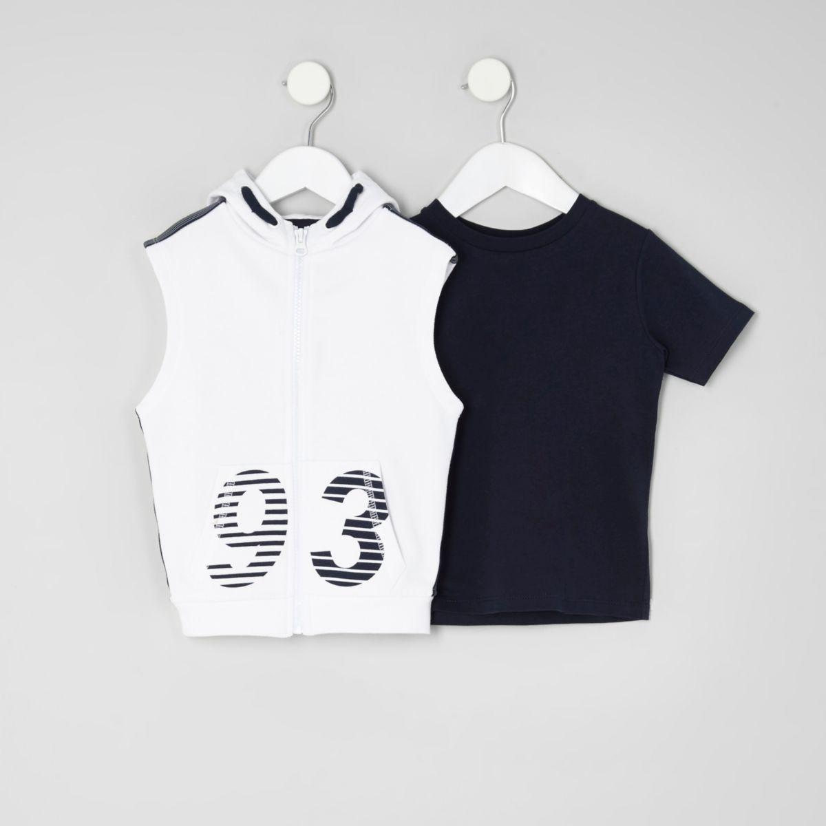 Mini boys white '93' print hoodie set