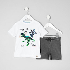 Mini boys white dinosaur T-shirt outfit
