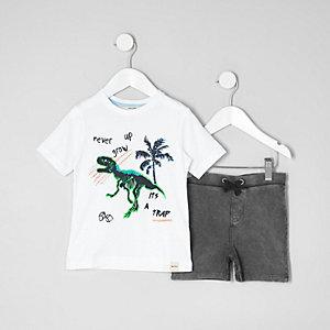 Ensemble avec t-shirt à imprimé dinosaure blanc pour mini garçon