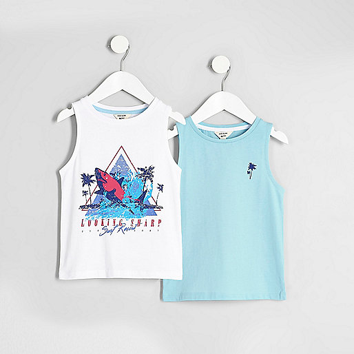 Mini boys white print vest multipack