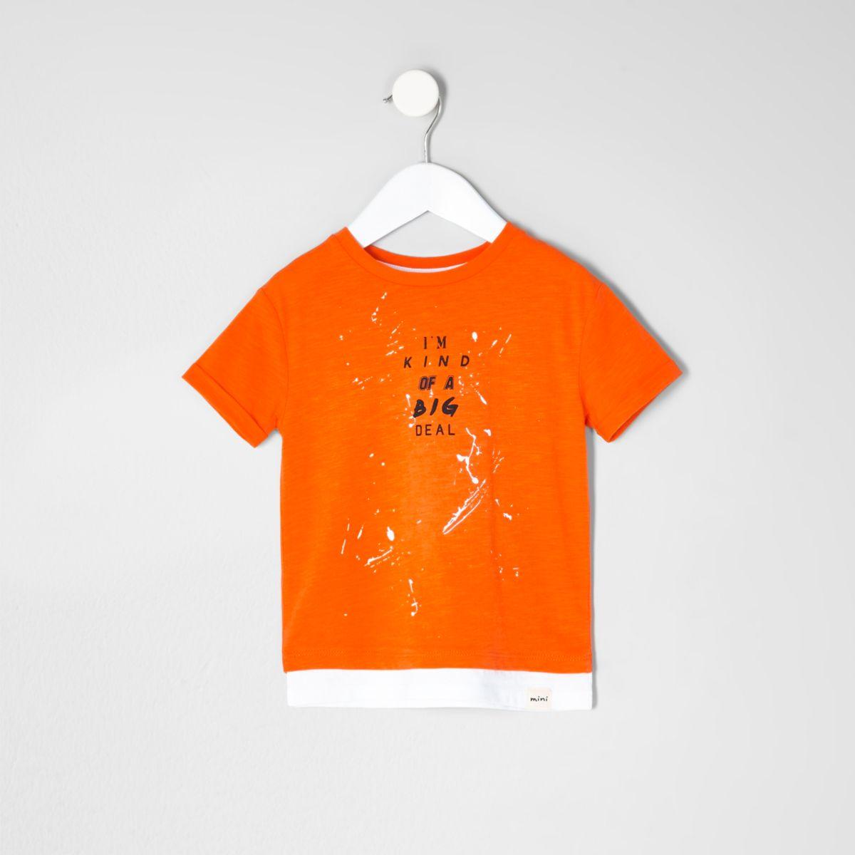Mini boys orange print double layer T-shirt