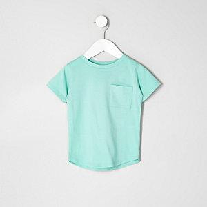Mini - Groen T-shirt met ronde zoom voor jongens