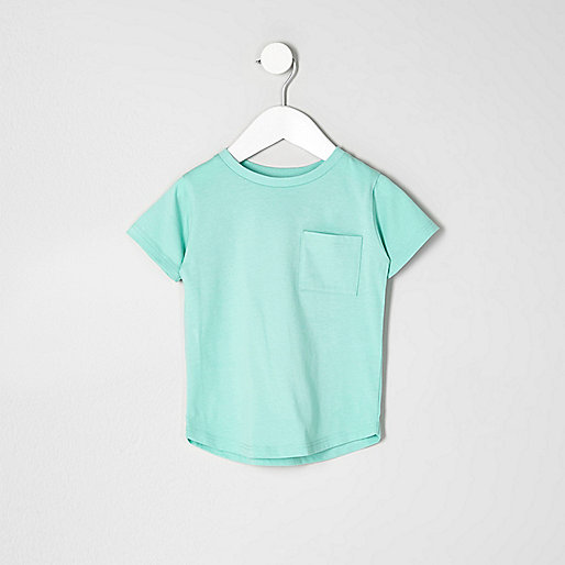 Mini boys green curved hem T-shirt