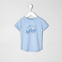 Mini boys blue 'always awesome' T-shirt
