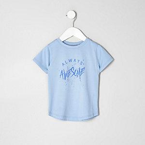 Mini - Blauw T-shirt met 'always awesome'-print voor jongens