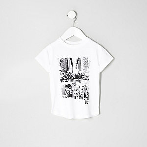Mini boys white 'Brooklyn' print T-shirt