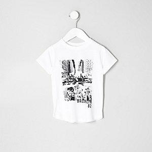 Mini - Wit T-shirt met 'Brooklyn'-print voor jongens