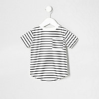 Mini boys navy stripe print pocket T-shirt