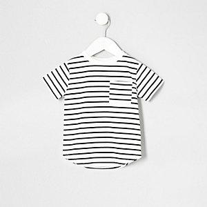 T-shirt à imprimé rayé bleu marine avec poche pour mini garçon