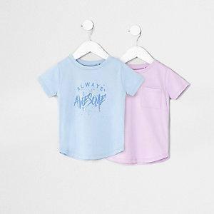 Mini - Multipack blauwe en paarse T-shirts voor jongens