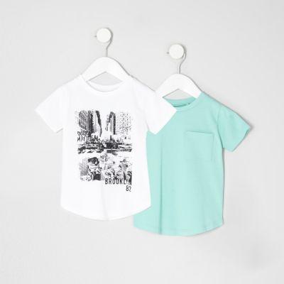 Mini Multipack witte T-shirts met print voor jongens