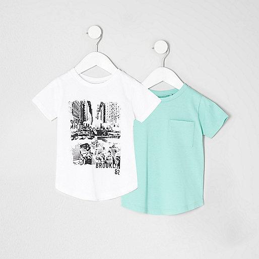 Mini boys white print T-shirt multipack