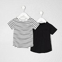 Mini boys black stripe T-shirt multipack