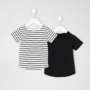 Mini boys black stripe T-shirt multipack