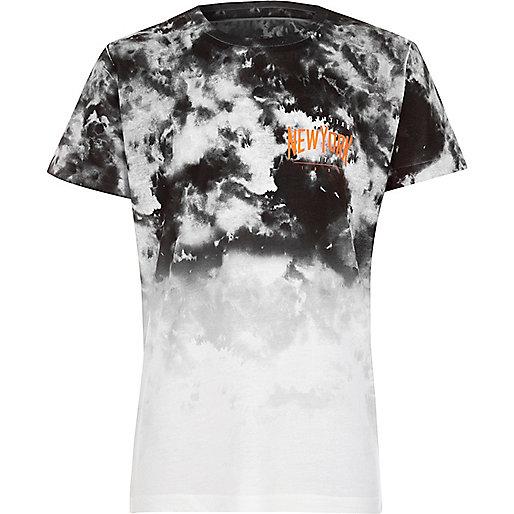 Boys black fade tie dye 'New York' T-shirt