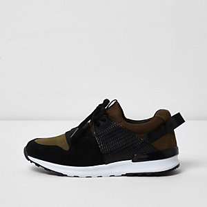 Boys khaki green runner trainers